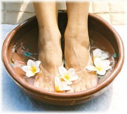 Soak you feet in scented bath to make them soft & smooth.