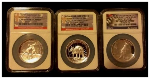 2010 2011 2012 NGC MS 70 Australia High Relief Kangaroo Silver Coin