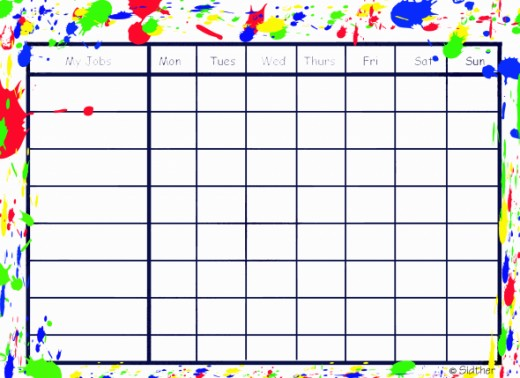 The paint splatter chore chart will use a moderate amount of ink.