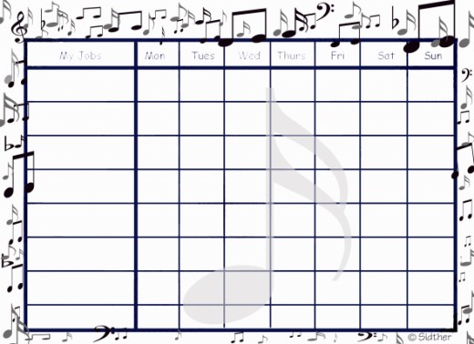 Free Printable Chore Chart: Music themed