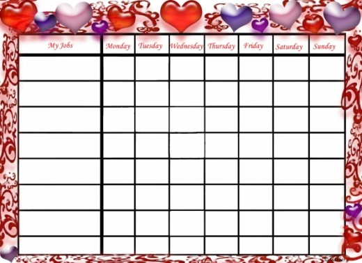 Free Printable Chore Charts: Valentine's Day Hearts