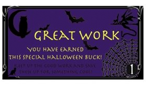 Free Printable Reward Buck Preview Halloween on Purple