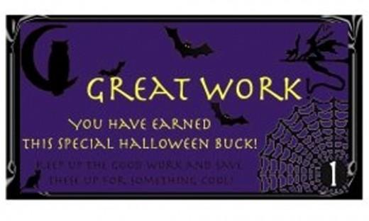 Free Printable Reward Buck Preview Halloween on Purple