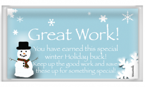 Free Printable Reward Bucks Winter theme with snowman