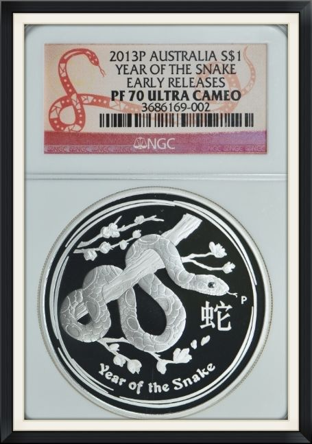 Australia 2013-P S$1 Silver Snake Early Releases NGC Proof-70 UC