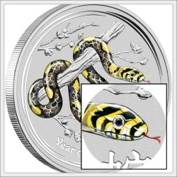 2013 Kilo Silver Year of the Snake Coin Gemstone Eye Colorized