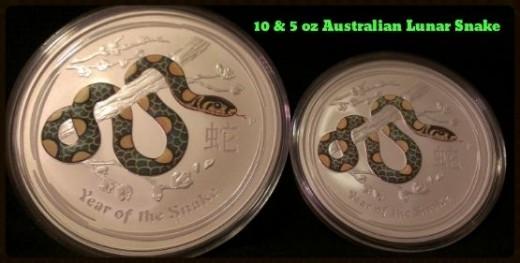 10 & 5 Ounce 2013 Australian Lunar Snake Silver Coins