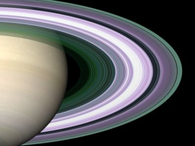 Saturn's Rings in False Color used to Determine Particle Size/ Credit:NASA