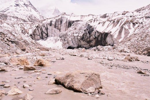 Gaumukh, the source of river Bhagirathi (a major tributary of Ganga) in Uttarakhand, India. Taken by Anshul Sawant at noon on May 28, 2007