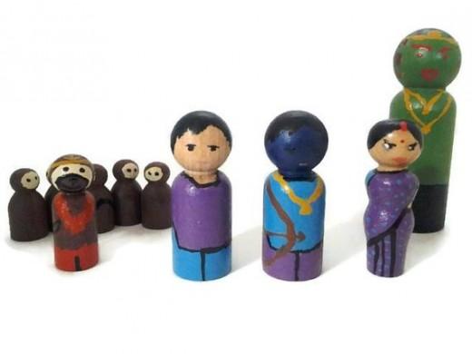 Ramayana Play Set Wooden Peg People