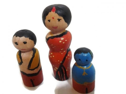 Little Krishna and Family Wooden Play Set