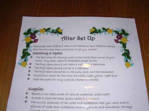how to set up a hindu altar