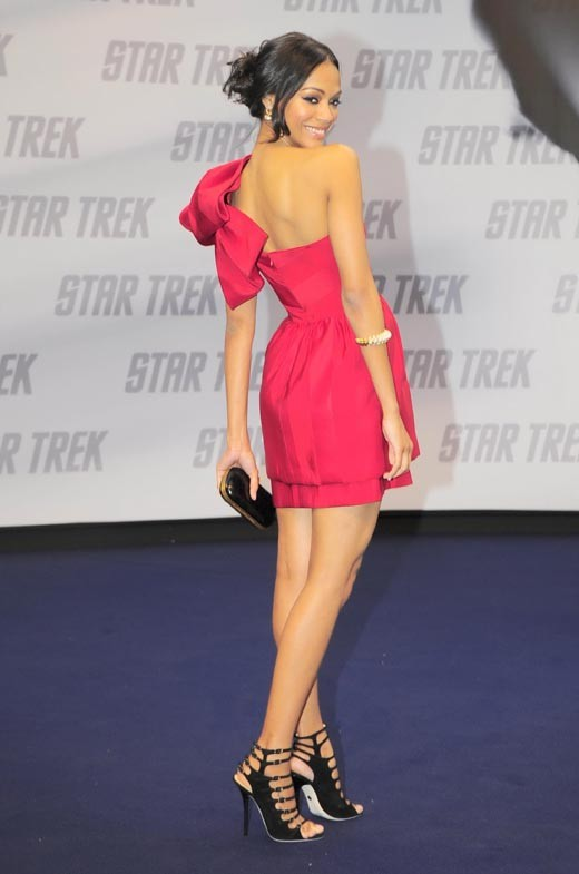 Zoe Saldana looking beautiful in red at a Star Trek photocall