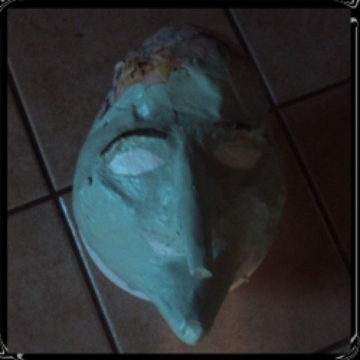 papier mache witch head holiday decoration