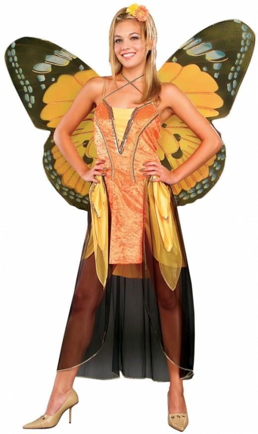 Ladies Orange Butterfly Costume