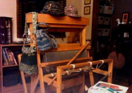 Empty assembled loom, using to display my knit felt items.  Photo 4 Assembled.