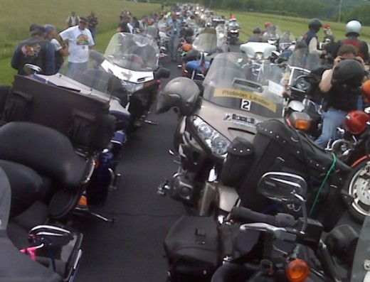 Bikes staged for another leg on Run For The Wall.