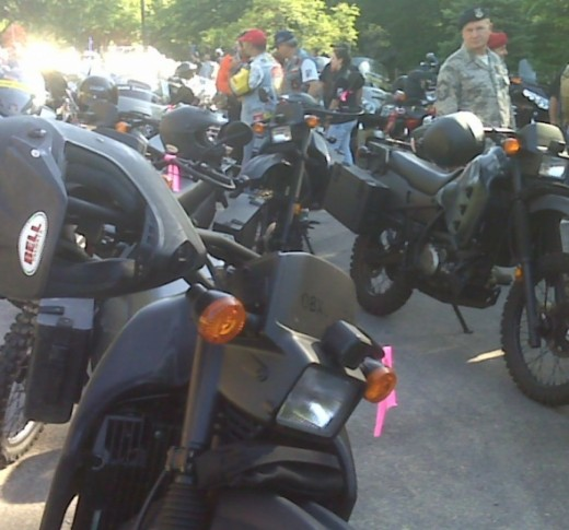 Military motorcycles staged for Run For The Wall.