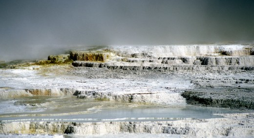 Yellowstone terraces in a soft light