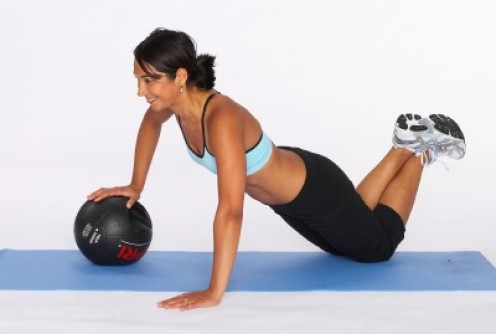 Push-ups with a medicine ball