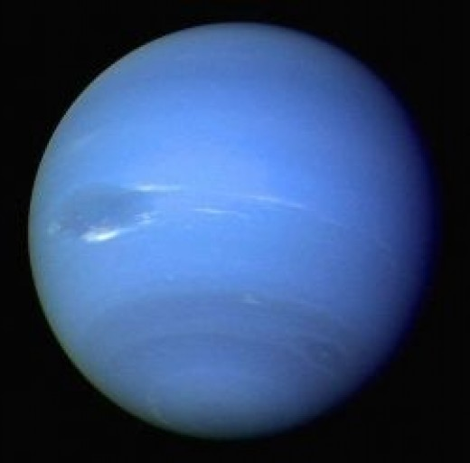 The most distant planet from the Sun, Neptune is a gas giant, named after the Roman god of the sea.  It gets its blue color from the methane that makes up its surface.  Urbain Le Verrier and John Couch Adams are credited with its discovery.