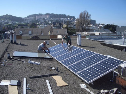 Solar cell installation in San Francisco. Photo by bkusler.