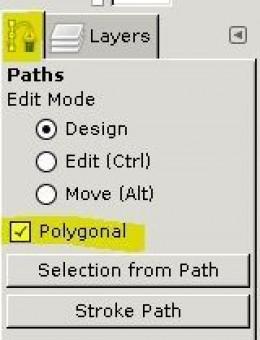 GIMP 2.8 Pen Tool Polygonal paths