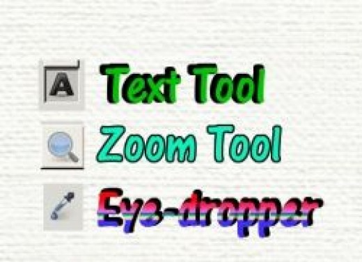 GIMP 2.8 Text Tool Zoom Tool & Eyedropper Tool