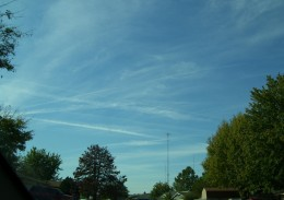 About 5:00 PM facing W-SW.  There were still lots of chemtrails.