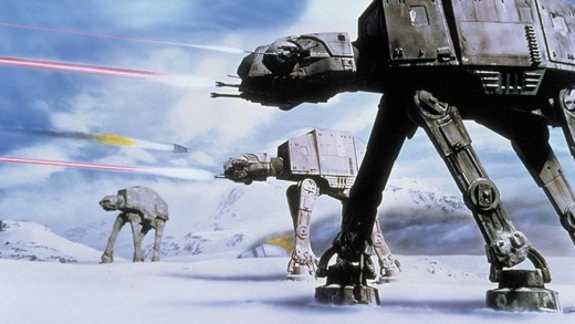 The AT-AT walkers during the Battle of Hoth