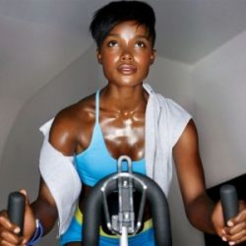 Spinning bike - working up a sweat