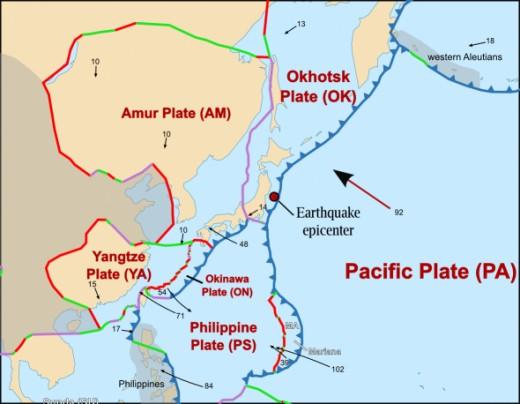 Japan Techtonics and plate boundaries