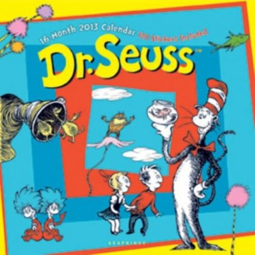 16 Month 2013 Dr.Seuss Wall Calendar -120 Stickers Included! Great for Kids, Classrooms, or Seuss Fans!