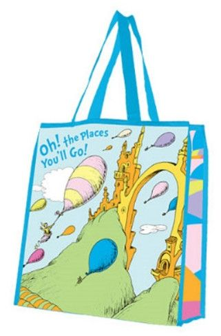 """""""Oh the Places You'll Go"""" - Large Recycled Tote Bag - Only $6.99"""