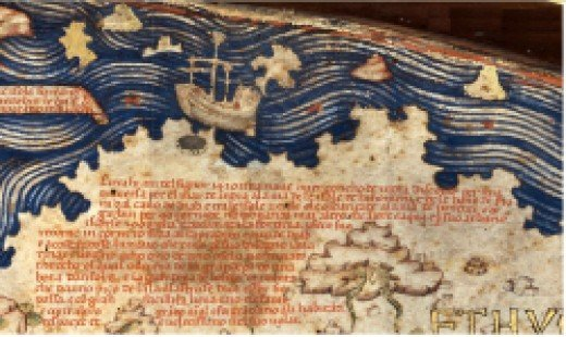 Detail of Fra Mauro Map showing Chinese Junk