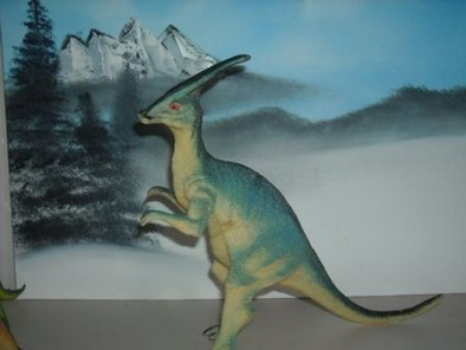 It took a little longer to for me, (not him) to remember what this one is. Best we can can tell is is a Parasaurolophus.