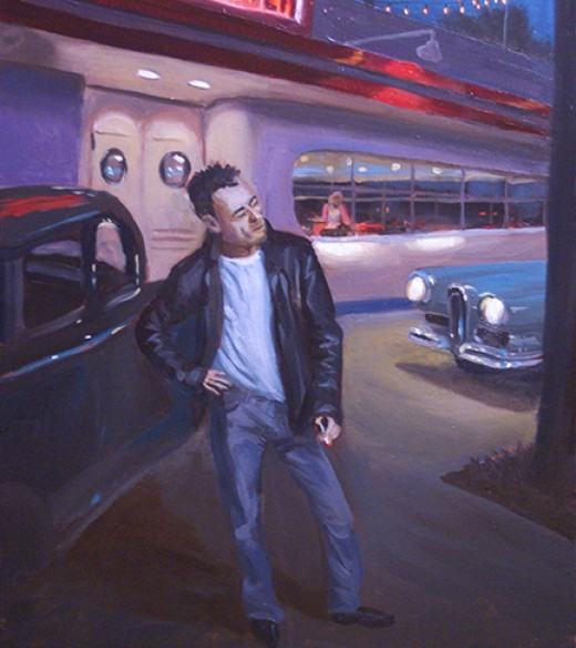 My oil painting of a Fonzie type character in front of a 50s diner.