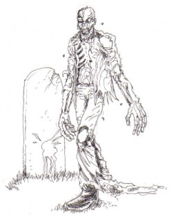 Zombie Sketched with black ink as a quick zombie sketch.
