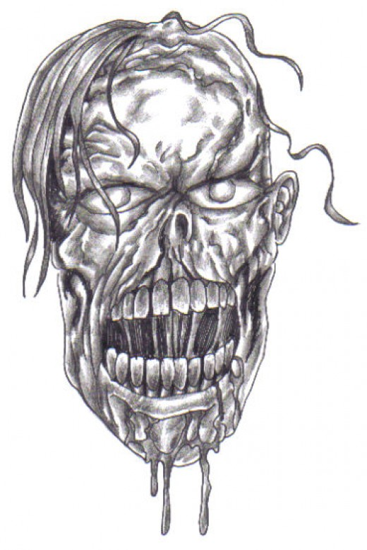 Zombie head sketch drawing, drawn to look scary and rotten.