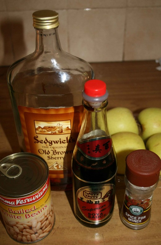 Some of the ingredients. Looks as though I have to get some more sherry, doesn't it?