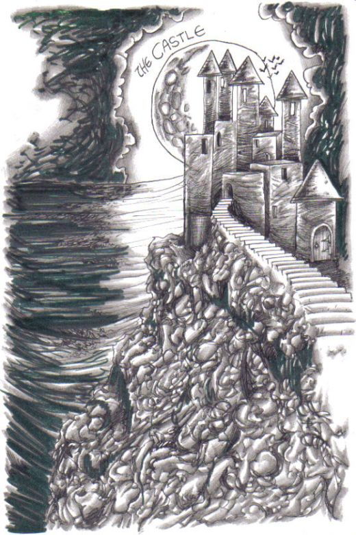 Castle Drawing concept sketch that just served as a reminder for me, What way to draw this castle for a graphic novel cover project. Castle Drawing by Wayne Tully Copyright  2010