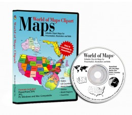 World of Maps CD collection of PowerPoint, Adobe Illustrator and JPG Maps. Over 2000, World, USA, States, Countries, Counties, World Regions, Globes and more.