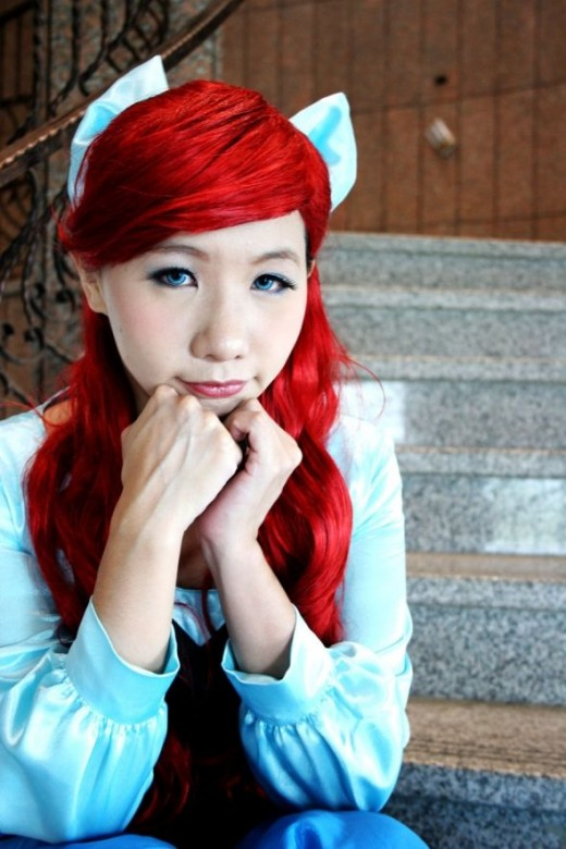 Ariel with blue contacts.