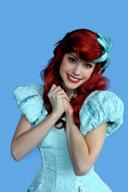 Ariel in the sparkling blue dress that appears when she becomes human once more.
