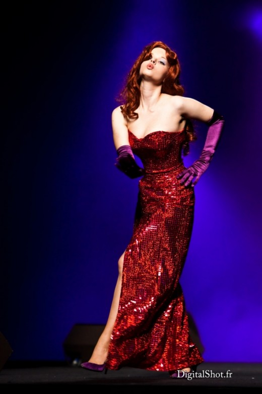 Jessica Rabbit's sequined dress and satin gloves.