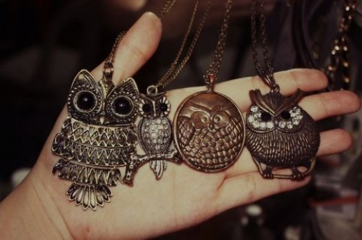 vintage owl necklaces