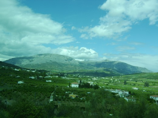 A very different view of Andalucia during the drive towards the Lakes of Malaga