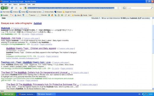 Google's first page.Number 2 entrance is a link to the hot HubMob hubs