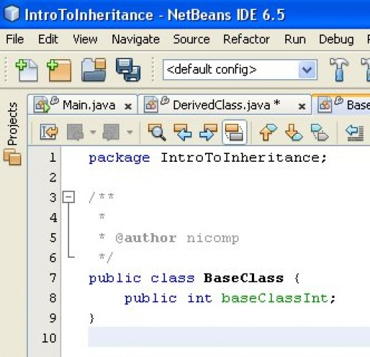 Figure 01 - A simple base class with one public member. The member is called baseClassInt.