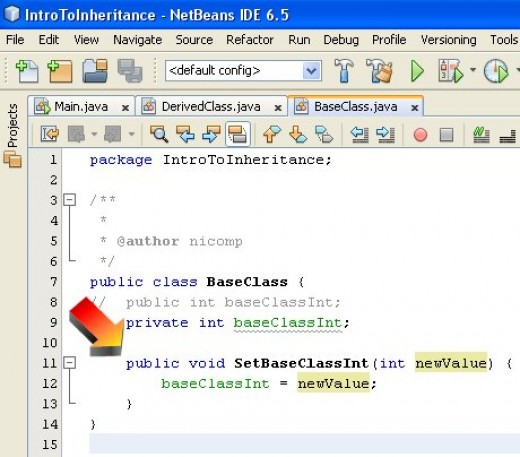 Figure 06 - Code added to the base class to provide access to the private variable